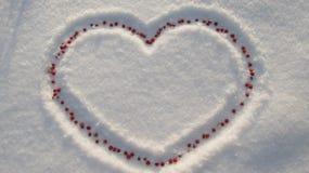 Hjärta i snön med röda bär Arkivbild