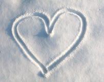 Hjärta i snow fotografering för bildbyråer