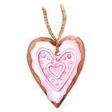 Hjärta isolerat format ljust rödbrun kex Arkivfoto