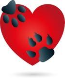 Hjärta katten, hund, tafsar, logoen royaltyfri illustrationer