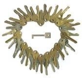 hjärta keys en till Royaltyfri Fotografi