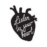 hjärta lyssnar till ditt Arkivbilder