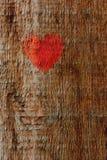 Hjärta målade på en träyttersida, trätextur royaltyfria foton