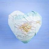 Hjärta med ön av Mallorca Arkivbild