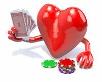 Hjärta med armar och ben som spelar poker Arkivfoton