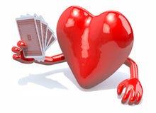 Hjärta med armar och ben som spelar poker Fotografering för Bildbyråer
