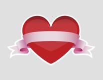 Hjärta med bandet Vektor Illustrationer