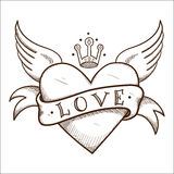 Hjärta med banret och kronan. Royaltyfria Foton