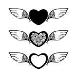 Hjärta med dekorativa vingar för din design Stock Illustrationer