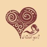 Hjärta med den grafiska designgarneringen Royaltyfri Illustrationer