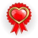 Hjärta med den guld- gränsen och band stock illustrationer