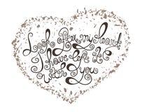Hjärta med den hand drog typografiaffischen Sparar det romantiska citationstecknet för tappning för valentindagkort eller datumko royaltyfri illustrationer