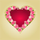 Hjärta med den rosa rosvektorn Royaltyfri Fotografi