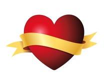Hjärta med det guld- banret Arkivfoto