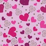 Hjärta med en pil och blommor. Sömlös modell  Stock Illustrationer