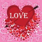 Hjärta med en pil och ordförälskelsen. Vektor Vektor Illustrationer