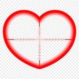 Hjärta med ett mål Målet av förälskelse Kupidonbegreppet tar syfte, väljer målet, sikten av ängeln av förälskelse vektor stock illustrationer