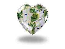 Hjärta med 100 euroräkningar Arkivfoto