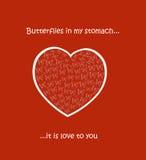 Hjärta med fjärilar Arkivbilder