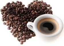 Hjärta med kaffekoppen Fotografering för Bildbyråer