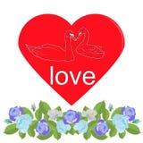 Hjärta med konturn av svanar och girlanden av blåa rosor vektor illustrationer