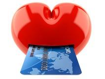 Hjärta med kreditkorten vektor illustrationer