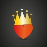 Hjärta med kronan Royaltyfria Bilder