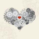Hjärta med kugghjul, vektorbakgrund för din design Arkivfoton