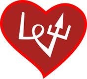 Hjärta med ordförälskelsen, kalligrafidesignbeståndsdel stock illustrationer
