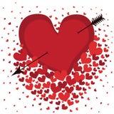 Hjärta med pilen i vit bakgrund. Vektor Vektor Illustrationer