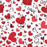 Hjärta med pilen och med ordförälskelse. Sömlös patt Royaltyfri Illustrationer