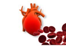 Hjärta med röda celler stock illustrationer