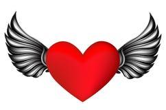Hjärta med silvervingar Arkivfoto