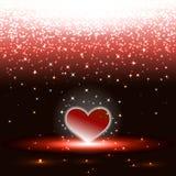 Hjärta med sparkles regnar Royaltyfria Bilder