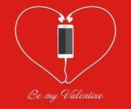 Hjärta med telefonen, tråd card min portfölj till valentinvälkomnandet EPS också vektor för coreldrawillustration förälskelsesmar royaltyfri illustrationer