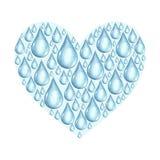 Hjärta med vattenfärgvatten tappar på en vit bakgrund Arkivbild