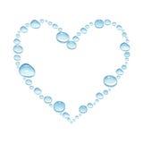 Hjärta med vattenfärgvattendroppar som isoleras på en vit backgroun Arkivfoton