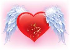 Hjärta med vingar Fotografering för Bildbyråer