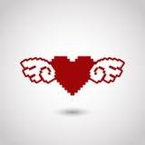Hjärta med vingar i stil av leken för 8 bit Royaltyfri Bild