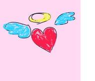 Hjärta med vingar och en gloria Royaltyfri Fotografi