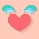 Hjärta med vingsymbolen stock illustrationer