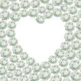 Hjärta med vita rosor för vattenfärg på den vita backgroen Fotografering för Bildbyråer