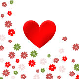 Hjärta och blommor stock illustrationer