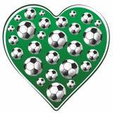 Hjärta- och fotbollboll vektor illustrationer