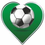 Hjärta- och fotbollboll stock illustrationer