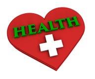 Hjärta och hälsa på vit bakgrund Arkivfoto