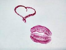 Hjärta och kyss Arkivbild