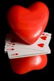 Hjärta och leka kort Royaltyfri Fotografi