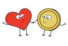 Hjärta och mynt tillsammans fund vektor illustrationer