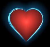Hjärta- och neonglöd Arkivfoto